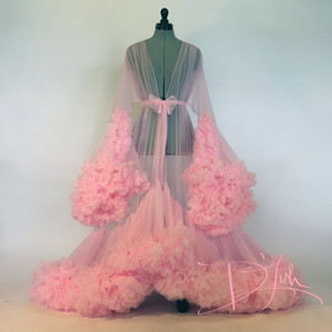 Sexy Sheer Long Robe with sash Bridal Boudoir Robe Pink Tulle Illusion Long Birthday Robe Holiday Party Costume on Sale