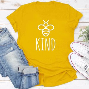 Wholesale Be Kind Graphice Tee Shirt Women Cotton Oversized T shirt Summer Fashion Bees Print Top Harajuku Tshirt Unisex Tee Drop Shipping