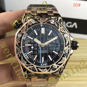 Wholesale 4 Colors Luxury Watch Stainless steel vintage carved Automatic Watches ST mm men Rubber strap
