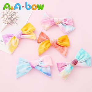 Wholesale mixed baby red hair resale online - 1pcs Baby Girls Velvet Bow Big Barrettes Newborn Hairpins Headwear Kids Hair Clips Ice Cream Mix Color Headband Hair Accessories