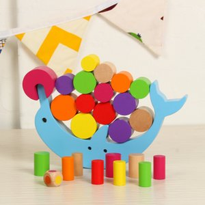 Wholesale Wooden Dolphin Balance Building Block Toy Dolphin Tumbler Game Stack High Hand Capacity Stack Tower Toy