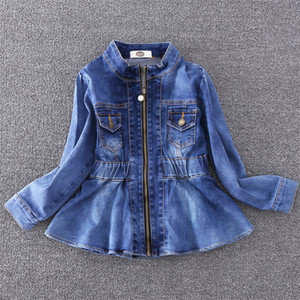 2-8 y kids denim jackets for girl fashion girls jeans jacket long sleeve fitted waist jackets children clothes pearl zip coat