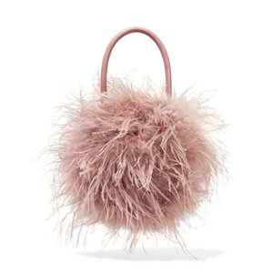 Fur bag women Luxury Designer ostrich feathers Evening party Bag Famous Brand handbag 2018 fall winter new pink green drop ship D19011204