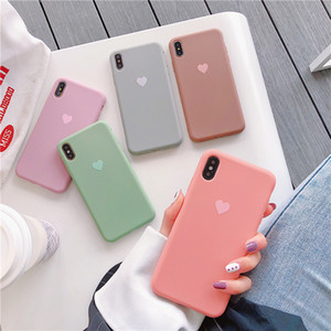 Wholesale New Arrived colorful heart phone case for iPHONE xsmax xs x xr iphone plus plus splus cell phone case Korea Fashion