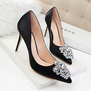Wholesale New Spring Autumn Women Pumps Elegant Rhinestone Silk Satin High Heels Shoes Sexy Ladies Party Shoes Pumps cm