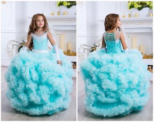 Wholesale Pageant Sleeveless Kids Gown Lace Tulle Flower Girl Dresses For Wedding Girl's Floor Length Child Party Birthday Dress