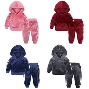 Wholesale New Kids Clothes Boys Girls Gold Velvet Suit Spring Autumn Fashion Baby Child Warm Sweater Pants Two Sets