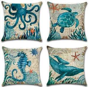 Wholesale Linen Seaworld Animal Printed Pillowcase Turtle Sea Horse Whale Octopus Cushion Cover Decorative Sofa Cushion Case Home Decoration