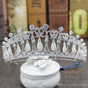 Princess Diana Crowns Bridal Tiaras With Zirconia Pearls Bridal Jewelry Girls Prom Party Performance Pageant Wedding Tiaras #DB-JS019