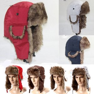 Wholesale Brand 2019 New Unisex Trapper Bomber Warm Russian Trooper EAR FLAPS Winter Ski Hat Men Women Cap New Bomber Hats