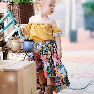 Wholesale girl dress kids baby girl clothes summer Yellow Flare sleeve T shirt pink Tutu skirt children princess dresses sets T A