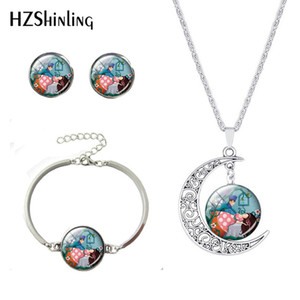 Fashion Girls Gift Pendants Sets Beauty lovely Flower Girls Jewelry Set For Kids Gift Silver Earrings Bracelets Moon Necklaces
