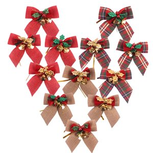 Wholesale Christmas Bowknot Decorations With Bells Plaid Bowknot Burlap Xmas Tree Ornaments Kids Toys Party Supplies Home Decor New TTA2032-4