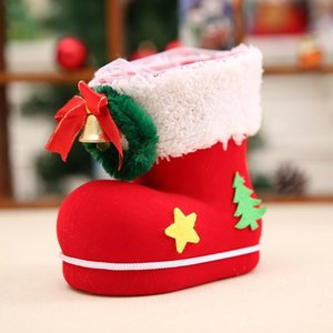 Wholesale Christmas Candy Boots Santa Claus Flocking Boots Stockings Decorative Candy Gift Box Home Decoration Supplies