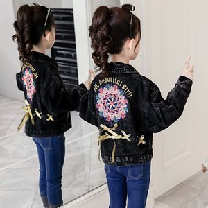Wholesale Black Girls Denim Jackets Autumn New Loose Bow Patchwork Floral Print Girls Coats Tops Fashion Baby Kids Clothes Casual Outfits