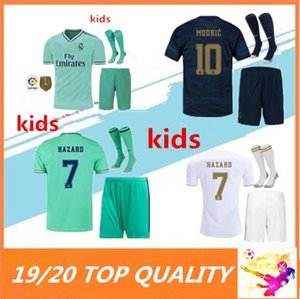 Wholesale 19 Real Madrid Soccer Jersey kids kits with socks madrid HAZARD ASENSIO ISCO MODRIC BALE kids Football shirts