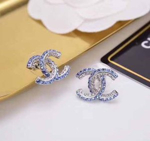 Luxury stud Earrings with blue and white diamond Fashion brand name earrings in S925 silver needle free shipping PS6803A