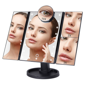 Wholesale makeup mirrors lights for sale - Group buy Touch Screen Makeup Mirror with LED Light X X X X Magnifying Glass Compact Vanity Mirror Flexible Cosmetics Mirrors Make SH190925