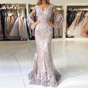 Vestido Belt V Neck Puffy Long Trumpet Sleeve Vintage Lace Mermaid Evening Dress Modest Open Back Mother Formal Party Guest Gowns Plus Size on Sale