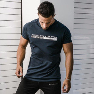 Wholesale New ALPHALETE Summer Men Short Sleeve Gyms T shirt Fitness Bodybuilding Crossfit Slim Shirts Fashion Leisure Cotton Tee Tops