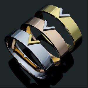 1.2mm wide Luxury Jewelry stainless steel Pulseira brand Bracelet & Bangle 18k Gold silver rose gold plated V Bracelet For Women men