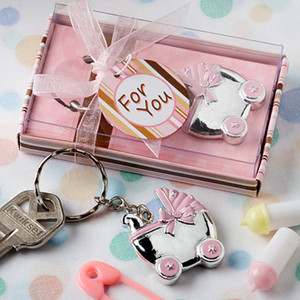 Wholesale baby showers favors resale online - 50PCS Pink Baby Carriage Design Key Chains Baby Shower Favors Baby Girl Christening Party Giveaways Gift For Guest DROP SHIPPING