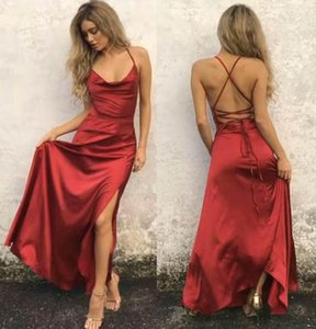 Wholesale In Stock Sexy Side Split Long Prom Dresses 2019 Halter Neck Lace Up Back Maid of Honor Party Cocktail Gowns Evening Cheap