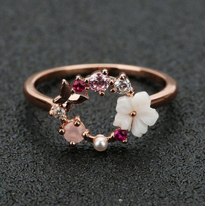 Wholesale Fashion Creative Butterfly Flowers Crystal Finger Wedding Rings for Women Rose Gold Zircon Glamour Ring Jewelry Girl Gift Bijoux
