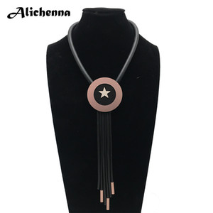 Wholesale Environmental Protection Short Torques Necklace Women Boho Punk Office Style Rubber Leather Rope Fashion Tassel Pendant Necklace