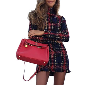 Wholesale Womens Dresses New Arrival Womens Winter Plaid Printed Dresses Fashion Casual Ladies Bodycon Shirts Women Clothing