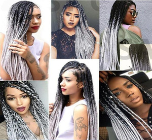 Wholesale African American Box Braids Synthetic Hair Lace Frontal Wig Two Tone Ombre Color b Grey Synthetic Hair Lace Wigs Wig for Black Women