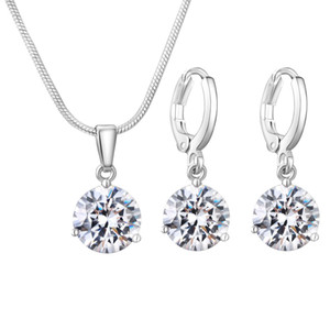 Wholesale Silver Plated Luxury Design Women Jewelry Set Amazing Zircon water drop necklace earrings set Bridal Accessories Wedding Jewelry