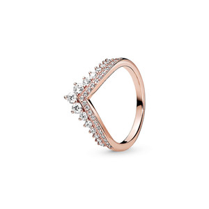Wholesale gold princess resale online - 18K Rose gold plated Wedding Rings Original Box for Pandora Sterling Silver Princess Wishbone Ring Women Gift CZ Diamond RING Sets