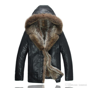 Mens Black Jacket with Fur Collar Winter Real Fur Coats Leather Jackets Shearling Outwear Overcoat Snow Tops Plus Size Clothing on Sale
