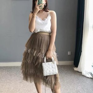 Wholesale Feathers Patchwork Womens Skirt High Waist Midi Pleated Skirts For Women Korean Spring Casual Fashion Clothes