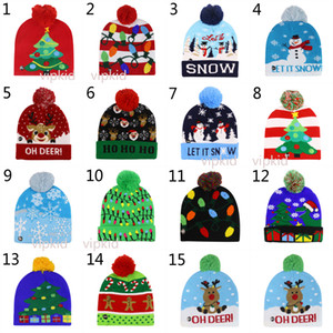 Boys girls LED Light Knitted Christmas Hat Unisex Adults Kids 2020 New Year Xmas Luminous Flashing Knitting Crochet Hat Party Favor B1