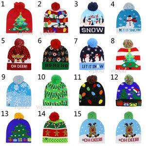 Boys girls LED Light Knitted Christmas Hat Unisex Adults Kids 2020 New Year Xmas Luminous Flashing Knitting Crochet Hat Party Favor B1