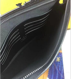 Wholesale 2018 New European And American Men Large capacity Genuine Leather And Coated Canvas Coco Print Envelope Clutch Bag