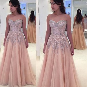 Crystal Prom Dresses 2019 Sweetheart Neckline Crystal Beaded Glass Tulle Pink Evening Dresses Formal Dresses Luxury