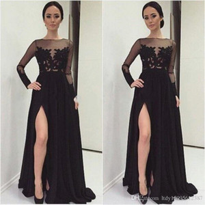 Wholesale dress robes DE party in the Middle East 2019 women sexy long-sleeved dress lace applique chiffon formal evening dress 040