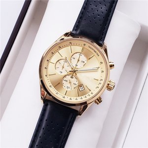 Wholesale TOP Fashion stainless Steel Quartz Man Leather watch Japan Movement watch rose gold Wristwatches Life Waterproof Brand male clock Hot Items