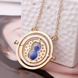 Harry Time Reversal Hourglass Necklace 360 Degree Rotatable Time Converter Magic Pendant Gifts for Children Novelty Necklace Crafts 6 Styles