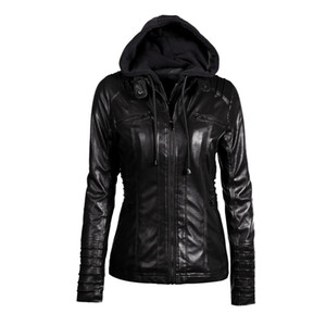 2018 Gothic faux leather Jacket Women hoodies Winter Autumn Motorcycle Jacket Black Outerwear faux leather PU Coat HOT