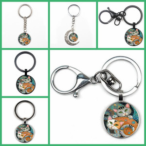 Wholesale Fashion Cute Two Cat Photo Key Ring Men and Women Quality Car Bag Charm Pendant Key Ring Convex Glass Crystal Gift Chain Kid