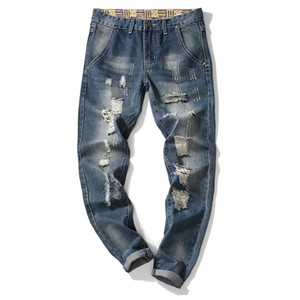 Autumn Designer Men's Ripped Jeans Pants Slim Fit Light Blue Denim Joggers Male Distressed Destroyed Trousers Button Fly Pants