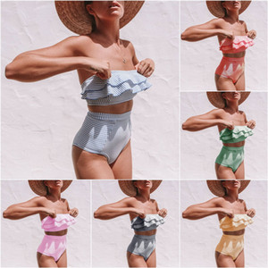 Sexy Swimwear Women Bikini Womens Vintage High Waist Padded Bra Bikini Set Striped flounce tankinis Swimwear Swimsuit