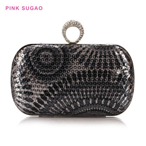 Pink sugao designer evening bags women clutch bags BHP flower printing dinner party bag women's clutch business OL sequin bag