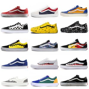 Wholesale Retail Van Old Skool Fear of God Women Mens Canvas Shoes Skate Sneakers lightning YACHT CLUB Black White Red Blue Casual Shoes