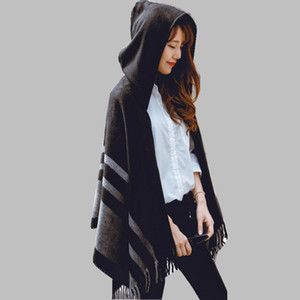 Wholesale High quality women winter scarf fashion striped black beige ponchos and capes hooded thick warm shawls and scarves femme outwear V191205