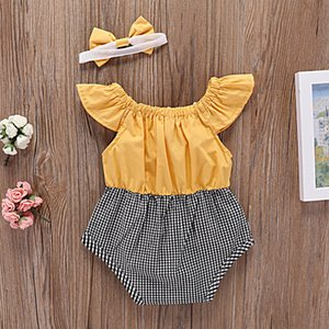 Wholesale Baby Girls Rompers Bandage Bow Elastic Printed Jumpsuit Infant Toddler Clothing Yellow Flying Sleeve shirt Butterfly Knot Headband SuitC23